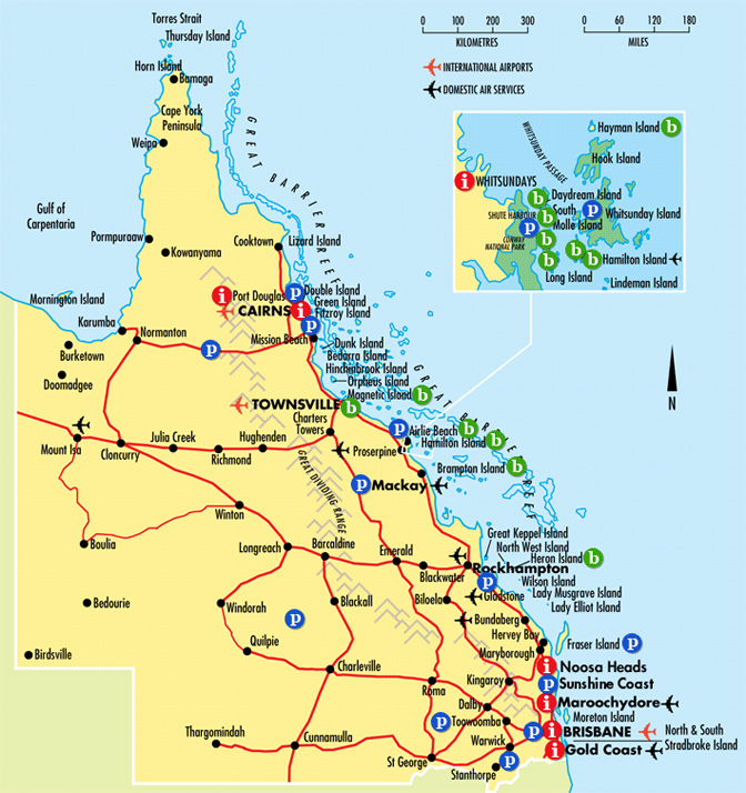 Map of Queensland Whitsundays Australia